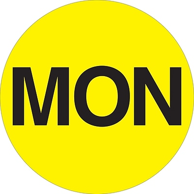 Tape Logic™ 1 Circle MON Days of the Week Label, Fluorescent Yellow, 500/Roll