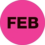 Tape Logic™ 1 Circle FEB Month of the Year Labels, Fluorescent Pink, 500/Roll