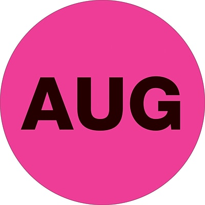 Tape Logic™ 1 Circle AUG Month of the Year Labels, Fluorescent Pink, 500/Roll