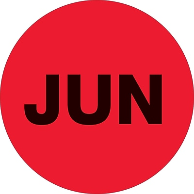 Tape Logic™ 2 Circle JUN Months of the Year Label, Fluorescent Red, 500/Roll