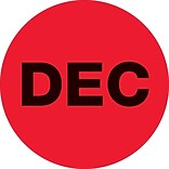 Tape Logic™ 2 Circle DEC Months of the Year Label, Fluorescent Red, 500/Roll