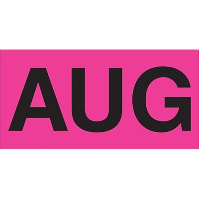 Tape Logic™ 3 x 2 Rectangle AUG Months of the Year Label, Fluorescent Pink, 500/Roll