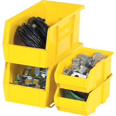Quill Brand® 10-7/8 x 4-1/8 x 4 Plastic Stack and Hang Bins, Yellow, 12/Ct (BINP1144Y)