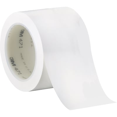 3M™ 3 x 36 yds. Solid Vinyl Safety Tape 471, White, 3/Pack