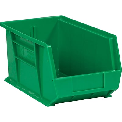 BOX 14 3/4 x 8 1/4 x 7 Plastic Stack and Hang Bin Quill Brand, Green, 12/Case