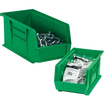 Quill Brand® 10-7/8 x 5-1/2 x 5 Plastic Stack and Hang Bins, Green, 12/Ct
