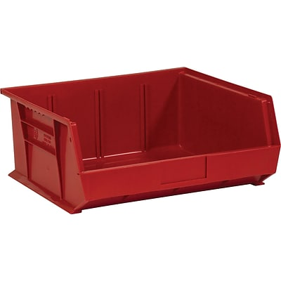 BOX 14 3/4 x 16 1/2 x 7 Plastic Stack and Hang Bin Quill Brand, Red, 6/Case