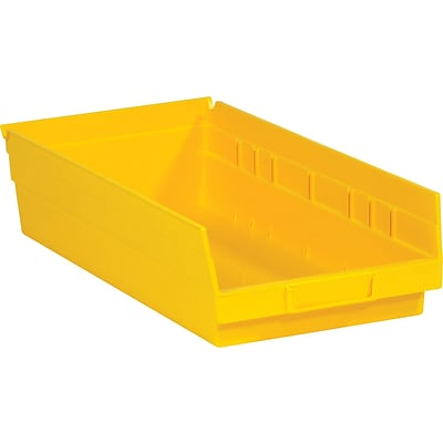 Quill Brand® 17-7/8 x 11-1/8 x 4 Plastic Shelf Bins, Yellow, 20/Ct (BINPS114Y)