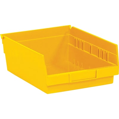 BOX 11 5/8 x 11 1/8 x 4 Plastic Shelf Bin Quill Brand, Yellow, 8/Case