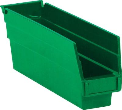 "Quill Brand  11 5/8"" x 2 3/4"" x 4"" Plastic Shelf Bin Quill Brand ; Green, 36/Case"