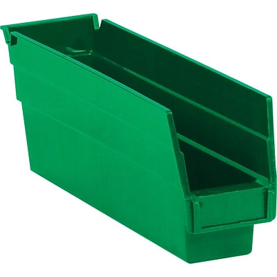 Quill Brand® 11-5/8 x 2-3/4 x 4 Plastic Shelf Bins, Green, 36/Ct (BINPS101G)