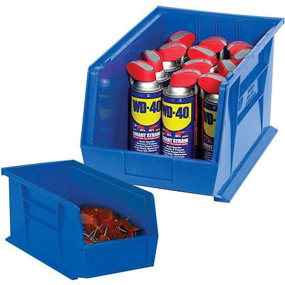 BOX 9 1/4 x 6 x 5 Plastic Stack and Hang Bin Box, Blue, 12/Case