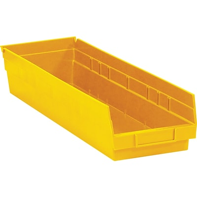 BOX 23 5/8 x 6 5/8 x 4 Plastic Shelf Bin Box, Yellow, 8/Case
