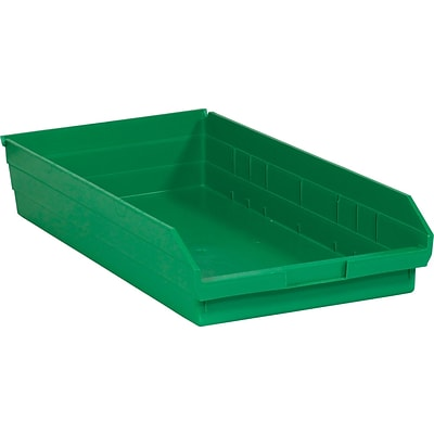 Quill Brand® 23-5/8 x 11-1/8 x 4 Plastic Shelf Bins, Green, 6/Ct (BINPS124G)