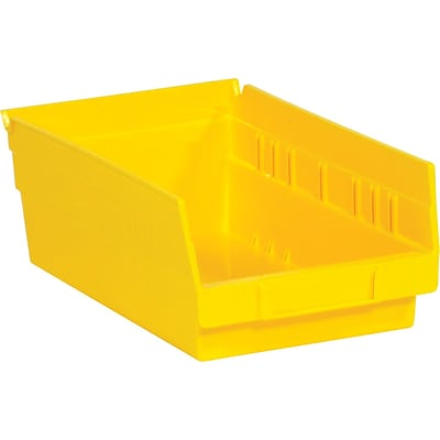 Quill Brand® 11-5/8 x 6-5/8 x 4 Plastic Shelf Bins, Yellow, 30/Ct (BINPS103Y)