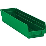 BOX 23 5/8 x 4 1/8 x 4 Plastic Shelf Bin Box, Green, 16/Case