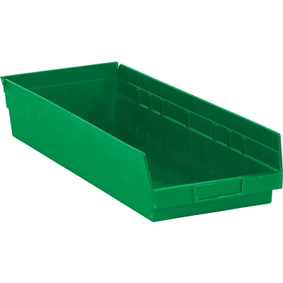 Quill Brand® 17-7/8 x 6-5/8 x 4 Plastic Shelf Bins, Green, 20/Ct (BINPS112G)
