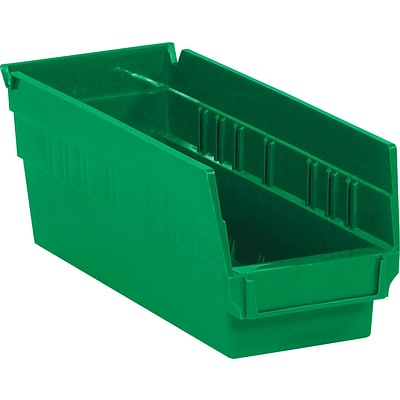 BOX 11 5/8 x 4 1/8 x 4 Plastic Shelf Bin Quill Brand, Green, 36/Case