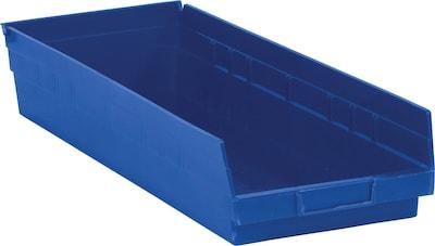 "Quill Brand  23 5/8"" x 8 3/8"" x 4"" Plastic Shelf Bin Quill Brand ; Blue, 6/Case"