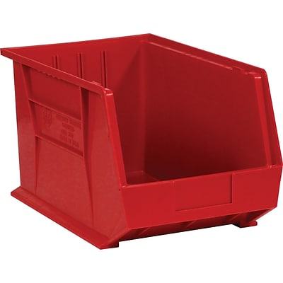 BOX 18 x 11 x 10 Plastic Stack and Hang Bin Quill Brand, Red, 4/Case