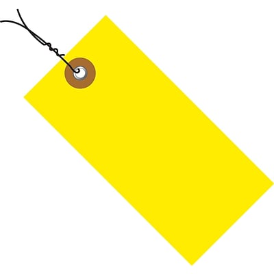 Tyvek® 2 3/4 x 1 3/8 Pre-Wired Shipping Tag, Yellow, 100/Case