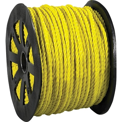 BOX Partners Twisted Polypropylene Rope, 600, 650 lbs Tensile, Yellow (TWR101)