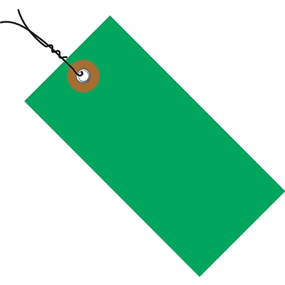 Tyvek® 3 1/4 x 1 5/8 Pre-Wired Shipping Tag, Green, 100/Case