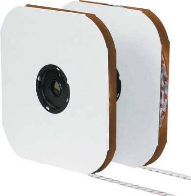 "Velcro(r) 3/8"" Individual Dots Velcro Tape, Loop, White, 1800/Case"