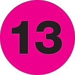 Tape Logic™ 2 Circle 13 Number Label, Fluorescent Pink, 500/Roll