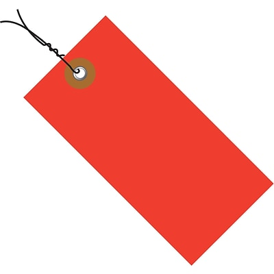 Tyvek® 3 1/4 x 1 5/8 Pre-Wired Shipping Tag, Red, 100/Case