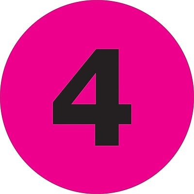 Tape Logic™ 1 Circle 4 Number Label, Fluorescent Pink, 500/Roll