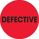 Tape Logic™ 2 Circle Defective Inventory Label, Fluorescent Red, 500/Roll