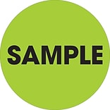 Tape Logic™ 2 Circle Sample Label, Fluorescent Green, 500/Roll