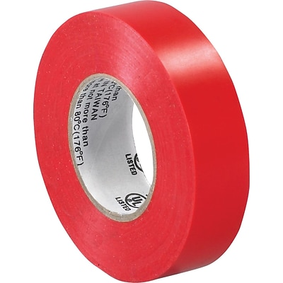 Tape Logic™ 3/4(W) x 20 yds(L) Vinyl Electrical Tape, Red, 10/Pack