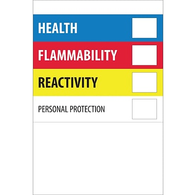 Tape Logic™ Health Flammability Reactivity Regulated Label, 2 x 3