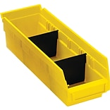 BOX Black Plastic Shelf Bin Divider, 9 7/8 x 3, 50/Case