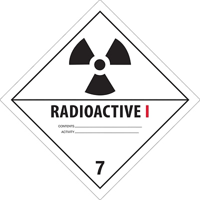 Tape Logic™ Radioactive I D.O.T. Hazard Label, 4 x 4