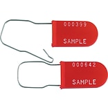 BOX 6 Plastic Wire Padlock Seal, Red, 1000/Case