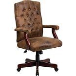 Flash Furniture Leather Executive Office Chair, Fixed Arms, Brown
