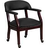 Flash Furniture Leather Mid Back Captains Chair With Casters, Black