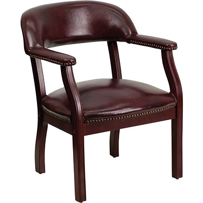 Flash Furniture Mid Back Oxblood Vinyl Luxurious Conference Chair, Mahogany