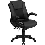 Flash Furniture Leather Executive Office Chair, Fixed Arms, Black