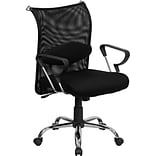 Flash Furniture Mid-Back Manager Chair With Black Mesh Back, Black