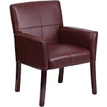Flash Furniture Mid Back Leather Executive Side Chair With Mahogany Legs, Burgundy
