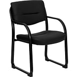 Flash Furniture Mid Back Leather Executive Side Chair With Sled Base, Black