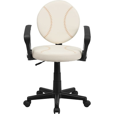 Flash Furniture Vinyl Baseball Task Chair With Arms, Cream