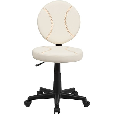 Flash Furniture Vinyl Baseball Task Chair Without Arms, Cream