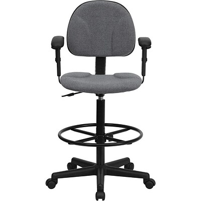 Flash Furniture Mid Back Fabric Ergonomic Drafting Stool With Arms, Gray