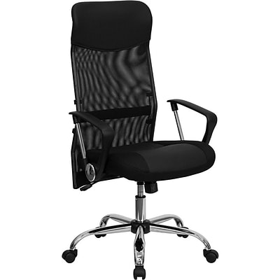Flash Furniture Split Leather Executive Chair With Mesh Back, Black