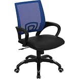 Flash Furniture Mid Back Mesh Computer Chair With Black Leather Seat, Blue